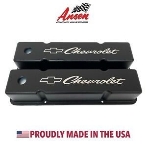 Small Block Chevy Valve Covers Tall W Chevrolet Bowtie Logo Black Ansen Usa