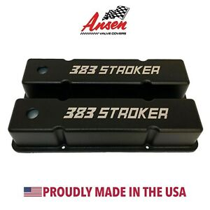 Small Block Chevy 383 Stroker Tall Valve Covers Black Ansen Usa