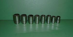 Lot Set Of 8 Snap On Tools Semi Deep Well 1 2 Drive Sae Sockets Sdh Series 12pt
