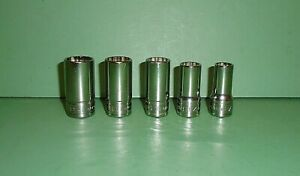 Lot Set Of 5 Snap On Tools Semi Deep Well 3 8 Drive Sae Sockets Fdh Series 12pt