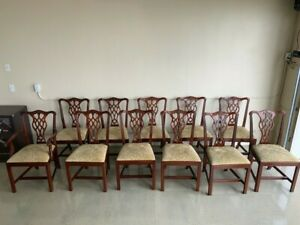 Mahogany Chippendale Dining Room Chairs Crafted By Henkel Harris Set Of 11