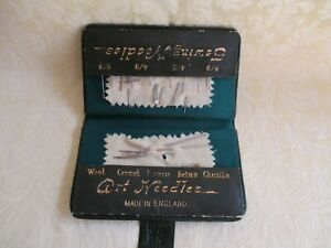 Antique Sewing Art Needles In Green Leather Case England