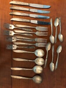 Win Rogers Son Silver Plated Vintage Silverware Set Rare Patina Antique