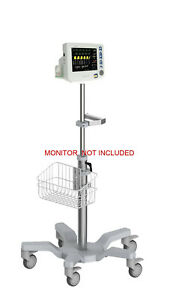 Rolling Roll Stand For Csi Criticare 8100ep Ngenuity Monitor big Wheel New
