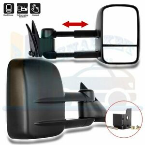 Manual Extending Side View Towing Mirrors Pair For 1988 98 Chevy Gmc C K