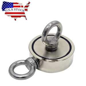 1100lbs Fishing Magnet Round Double Sided Super Strong Neodymium Pull Force