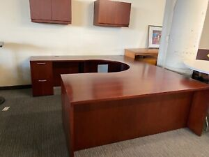 Executive U shape Desk By Ofs Office Furniture In Mahogany Finish Wood