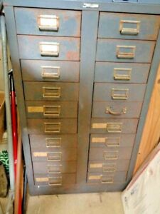 Vintage Usa Steelmaster Metal Storage Parts Bin Large Shop Cabinet 20 Drawers