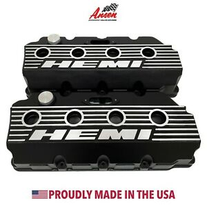 Mopar 426 Hemi Logo Valve Covers Black Finned Die cast Aluminum Ansen Usa