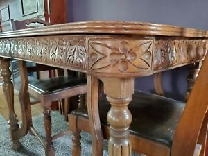 Hand Carved Antique Dining Table And Chairs By Douglas Furniture
