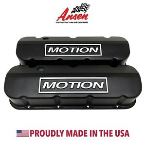 Big Block Chevy Motion Raised Logo Tall Valve Covers Black Ansen Usa