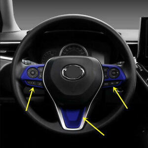 For 2020 Toyota Corolla Blue Steering Wheel Decoration Trim 3pcs