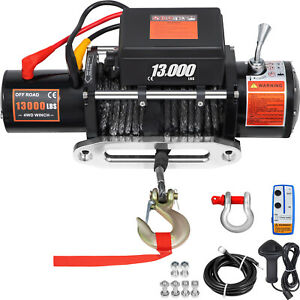 13000lbs Electric Winch12v Synthetic Rope Off road Atv Utv Truck Towing Trailer