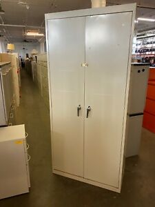 Metal Storage Cabinet 78 h In Putty Color