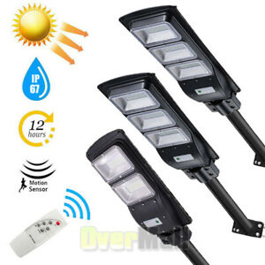 100000LM LED Solar Street Light Outdoor Commercial IP67 Dusk Dawn Road Lamp+Pole $54.89