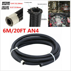 Auto Black Fuel Hose Oil Gas Line An4 6m 20ft Nylon 304 Stainless Steel Braided