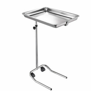Aw Mobile Mayo Stainless Steel Tray Stand Adjustable Trolley Medical Equipment