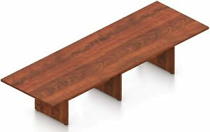 12 Ft Contemporary Rectangular Conference Room Table In American Dark Cherry