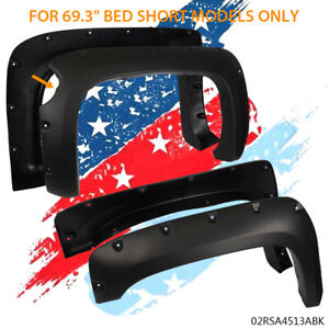 For 07 13 Chevy Silverado 1500 69 Pocket Riveted Wheel Fender Flares Bolt On
