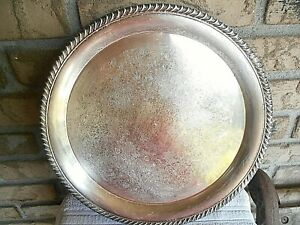 Vintage Silver Plated Ornate 12 Round Serving Tray