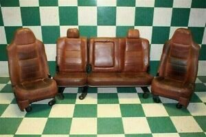 08 10 F250 King Ranch Brown Leather Seats Dual Power Heat Buckets Backseat Track