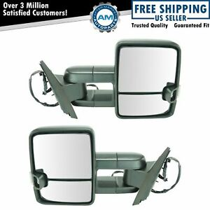 Tow Mirror Power Heated Led Signal Spotlight Textured Black Pair Set For Gm New