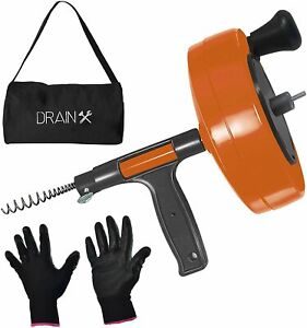 Drainx Power Pro 25 ft Steel Drum Auger Plumbing Snake With Drill Adapter