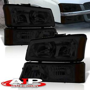 4pc Smoke Clear Headlights Signal Bumper Lamps For 2003 2006 Chevy Silverado