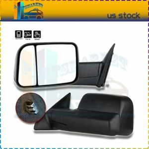 Left Right Black Manual Towing Mirrors For 2010 2015 Dodge Ram 1500 2500 3500