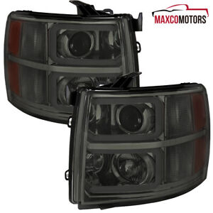 Smoke For 2007 2013 Chevy Silverado 1500 2500hd Projector Headlights W Led Tube