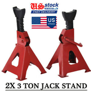 2pcs 3 Ton Car Jack Standsvehicle Support 17in High Lift Garage Auto Tool Set