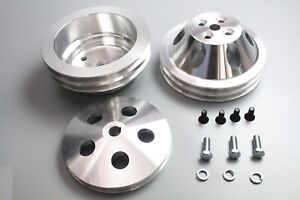 Sbc Small Block Chevy Aluminum 2 Groove Long Water Pump Pulley Kit 327 350 400