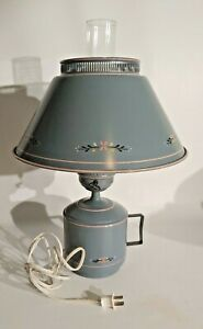 Vintage Country Blue Tole Metal Table Lamp Farmhouse Toleware Light Shade