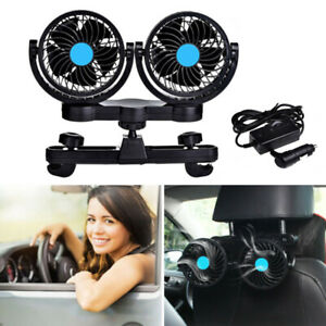 12v Dual Head Car Rear Seat Headrest Cooling Air Fan 360 Rotatable Ventilation