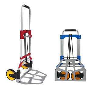 264 Lb Folding Hand Dolly Truck Portable Luggage Cart Warehouse Trolley Wheels