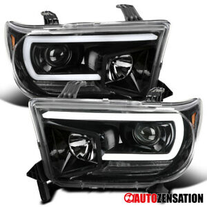 For 2007 2013 Toyota Tundra Sequoia Black Led Drl Projector Headlights signal