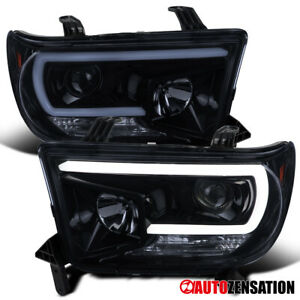 For 2007 2013 Toyota Tundra Sequoia Smoke Led Bar Projector Headlights Lamps