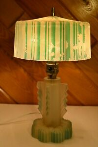 Amazing Art Deco Boudoir Table Lamp Light Ribbed Glass Original Shade