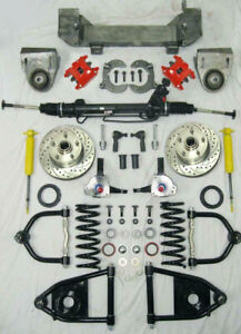 49 54 Chevy Mustang Ii Bolt On Power Front End Suspension Kit Stock Red Wilwood