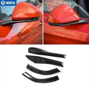 Car Rearview Mirror Cover Trim Decor Strips For Ford Mustang 15 19 Carbon Fiber