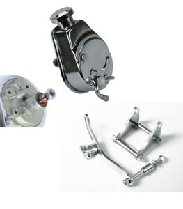 Small Block Chevy Chrome Saginaw Power Steering Pump With Sbc Chrome Bracket Kit