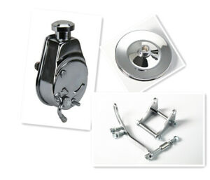 Sbc Chevy Sb Chrome Saginaw Power Steering Pump W Bracket Pulley Kit