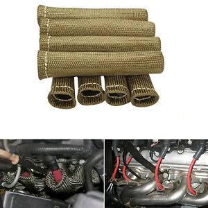 6 Titanium 2500 Spark Plug Wire Boot Heat Shield Protector Sleeve For Ls1 ls2