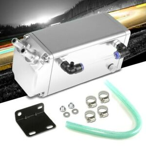 Silver Square Style Universal Aluminum Oil fuel Catch Tank can Reservoir Turbo
