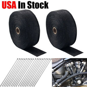 2 Roll X 2 50ft Black Fiberglass Exhaust Header Pipe Heat Wrap Tape 20 Ties