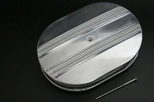 12 Oval Half Finned Polished Aluminum Classic Nostalgia Air Cleaner Chevy Ford