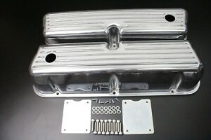 1962 1985 Sbf 289 302 351w Tall Finned Valve Covers Polished Aluminum