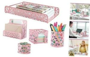 Pink 5 piece Metal Desk Accessories Desk Organizer Desk Decor Set Cute Pink