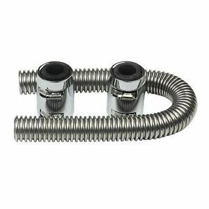 36 Flexible Stainless Steel Radiator Hose Kit Caps Chrome Universal