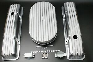 58 86 Sbc Chevy 350 Aluminum Tall Retro Finned Valve Covers And 15 air Cleaner
